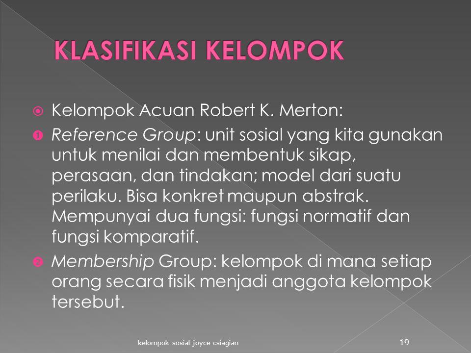  Kelompok Acuan Robert K. Merton:  Reference Group: unit sosial yang kita gunakan untuk menilai dan membentuk sikap, perasaan, dan tindakan; model d