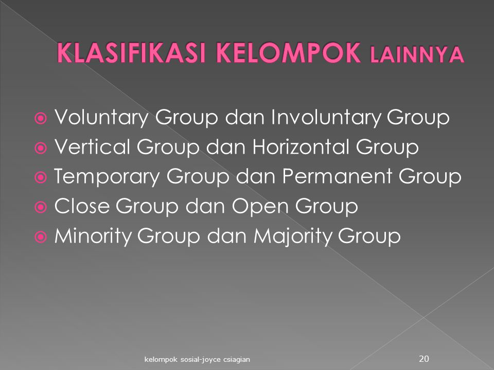  Voluntary Group dan Involuntary Group  Vertical Group dan Horizontal Group  Temporary Group dan Permanent Group  Close Group dan Open Group  Min