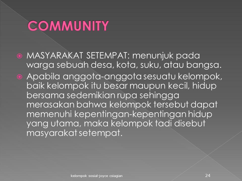  MASYARAKAT SETEMPAT: menunjuk pada warga sebuah desa, kota, suku, atau bangsa.  Apabila anggota-anggota sesuatu kelompok, baik kelompok itu besar m