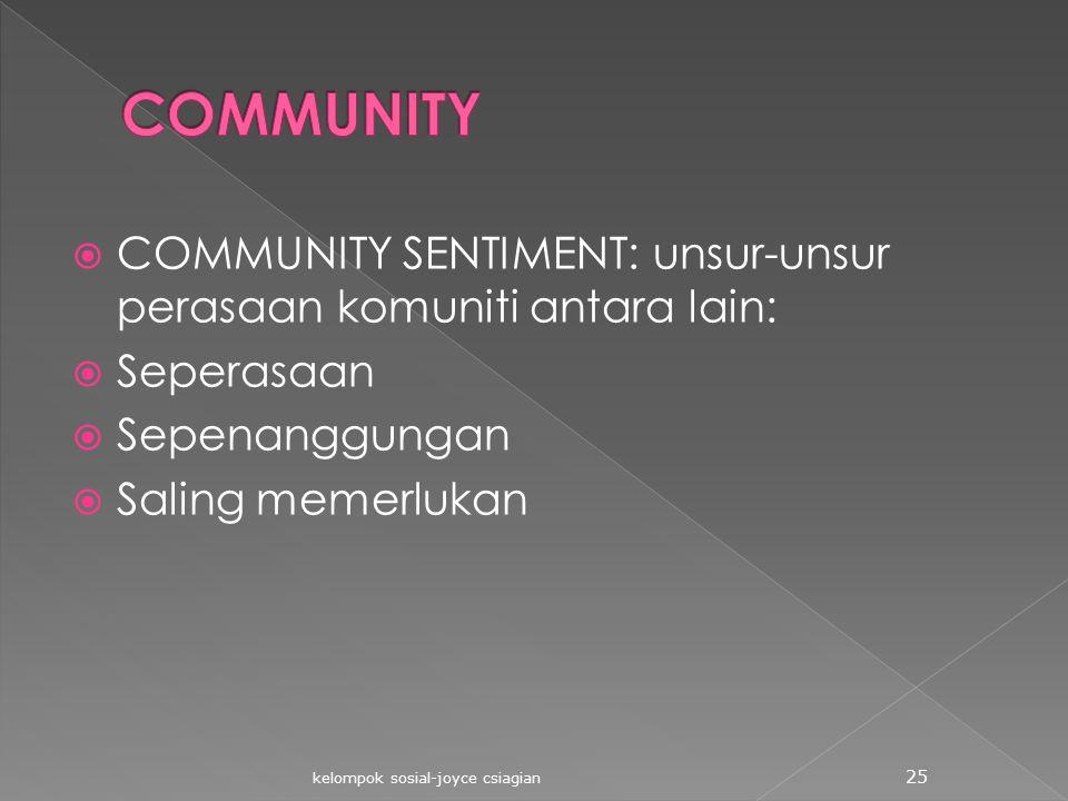  COMMUNITY SENTIMENT: unsur-unsur perasaan komuniti antara lain:  Seperasaan  Sepenanggungan  Saling memerlukan kelompok sosial-joyce csiagian 25