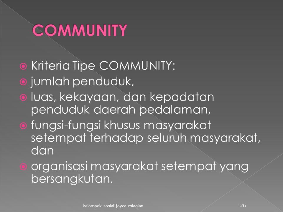  Kriteria Tipe COMMUNITY:  jumlah penduduk,  luas, kekayaan, dan kepadatan penduduk daerah pedalaman,  fungsi-fungsi khusus masyarakat setempat te