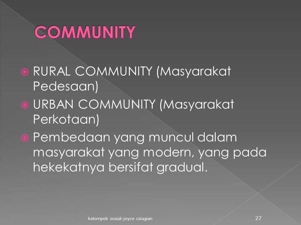  RURAL COMMUNITY (Masyarakat Pedesaan)  URBAN COMMUNITY (Masyarakat Perkotaan)  Pembedaan yang muncul dalam masyarakat yang modern, yang pada hekek