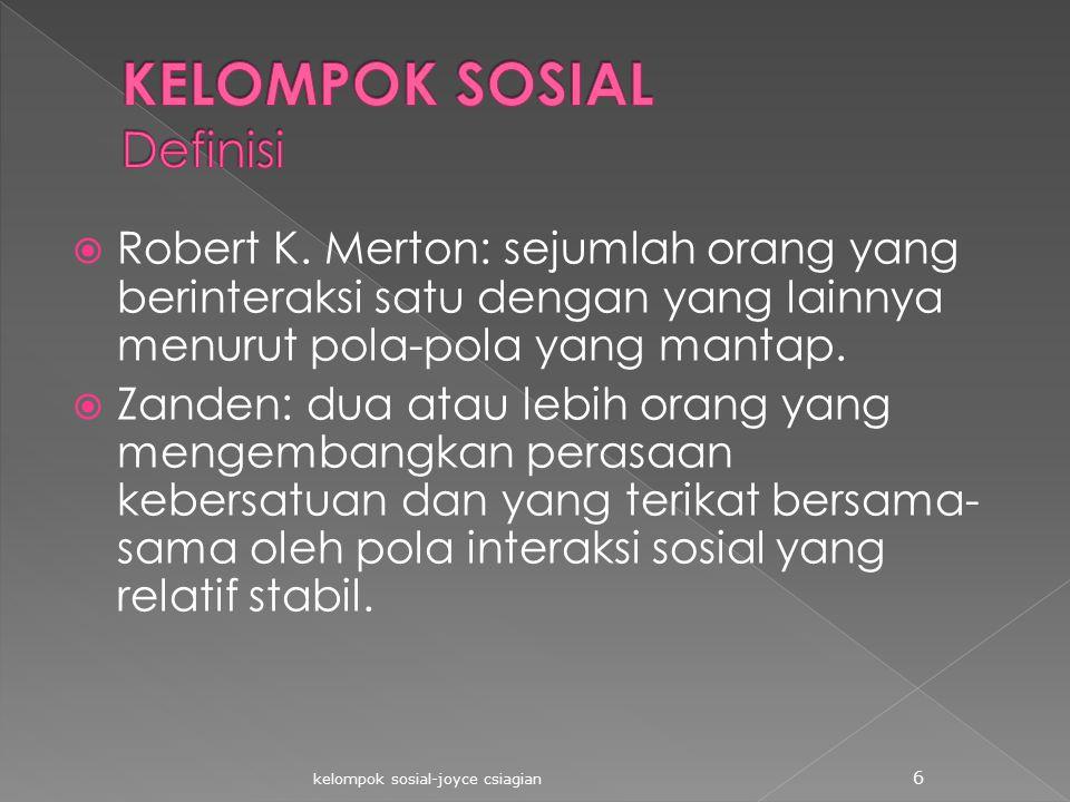  Robert K. Merton: sejumlah orang yang berinteraksi satu dengan yang lainnya menurut pola-pola yang mantap.  Zanden: dua atau lebih orang yang menge