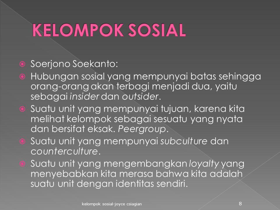  Soerjono Soekanto:  Hubungan sosial yang mempunyai batas sehingga orang-orang akan terbagi menjadi dua, yaitu sebagai insider dan outsider.  Suatu