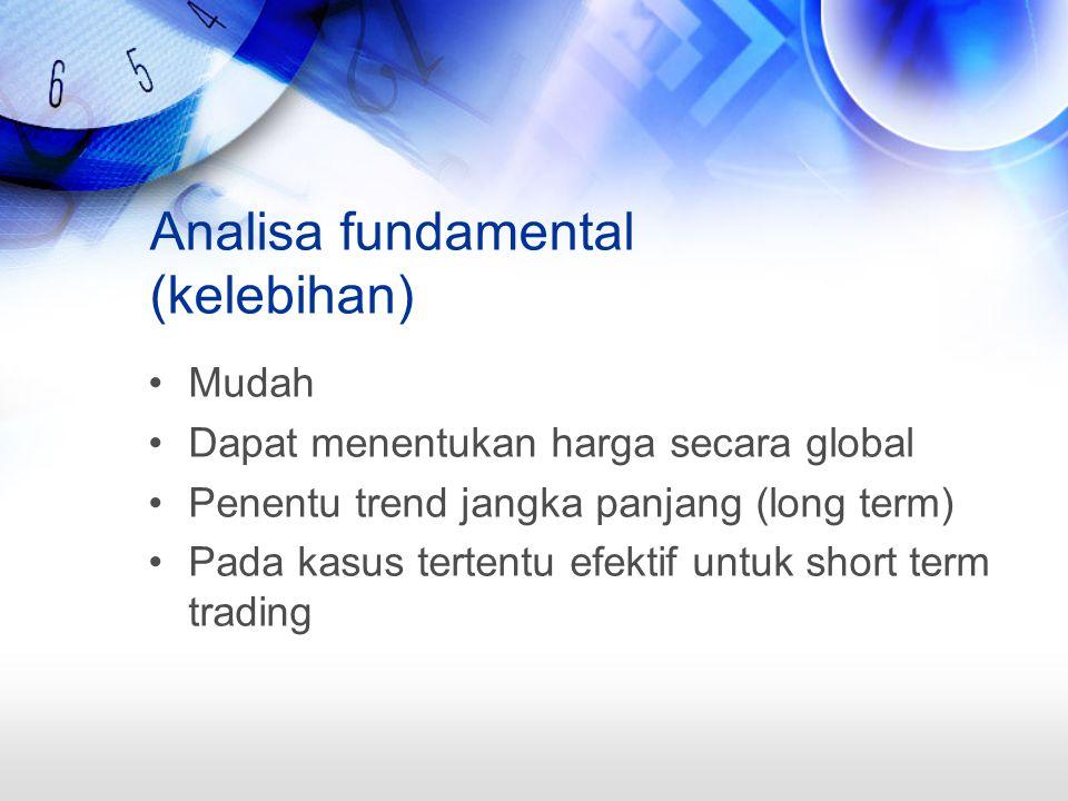 Analisa fundamental (kelebihan) Mudah Dapat menentukan harga secara global Penentu trend jangka panjang (long term) Pada kasus tertentu efektif untuk