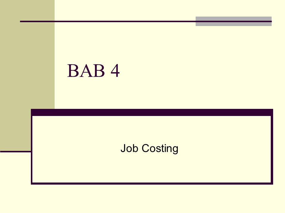 BAB 4 Job Costing