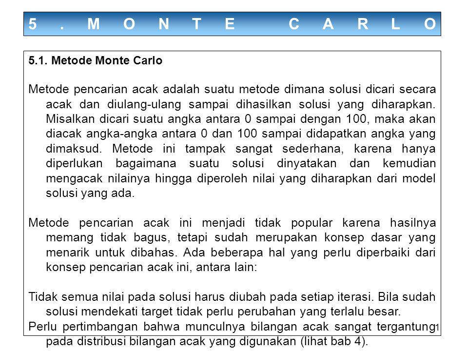 1 5.MONTE CARLO 5.1. Metode Monte Carlo Metode pencarian acak adalah suatu metode dimana solusi dicari secara acak dan diulang-ulang sampai dihasilkan