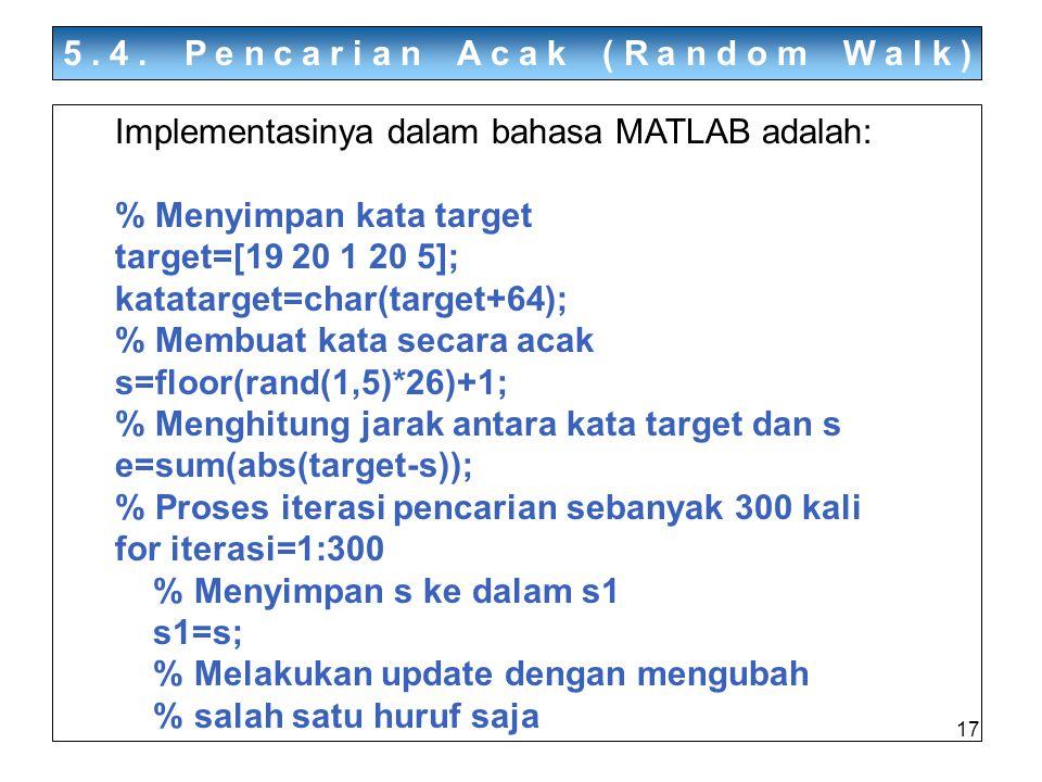 17 5.4. Pencarian Acak (Random Walk) Implementasinya dalam bahasa MATLAB adalah: % Menyimpan kata target target=[19 20 1 20 5]; katatarget=char(target