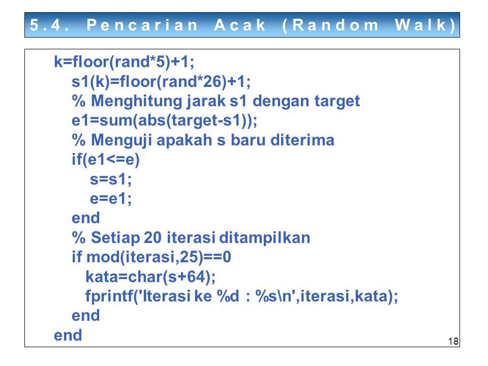 18 5.4. Pencarian Acak (Random Walk) k=floor(rand*5)+1; s1(k)=floor(rand*26)+1; % Menghitung jarak s1 dengan target e1=sum(abs(target-s1)); % Menguji