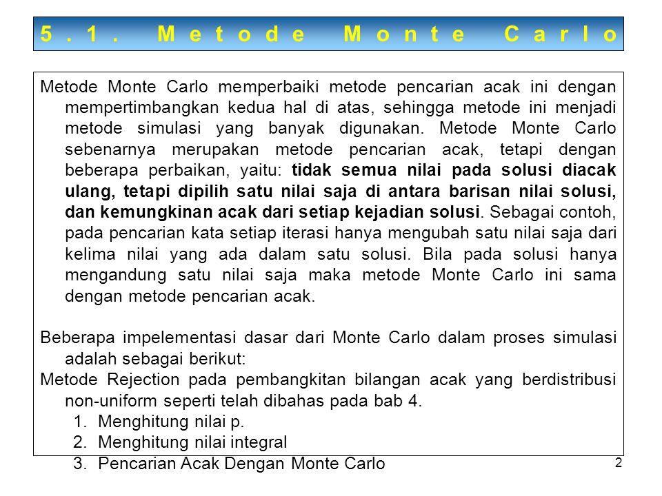 2 5.1. Metode Monte Carlo Metode Monte Carlo memperbaiki metode pencarian acak ini dengan mempertimbangkan kedua hal di atas, sehingga metode ini menj