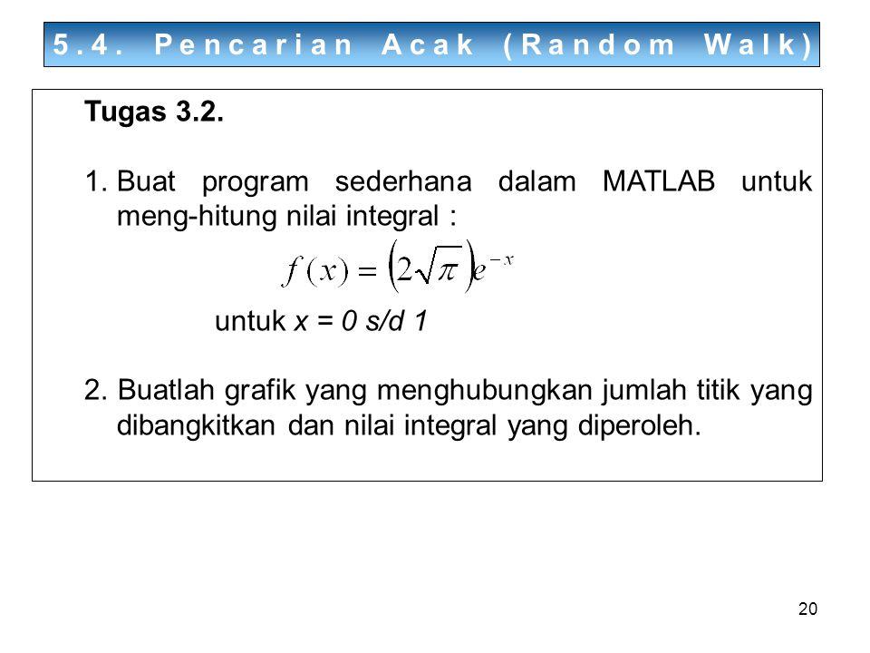 20 5.4. Pencarian Acak (Random Walk) Tugas 3.2. 1.Buat program sederhana dalam MATLAB untuk meng-hitung nilai integral : untuk x = 0 s/d 1 2. Buatlah