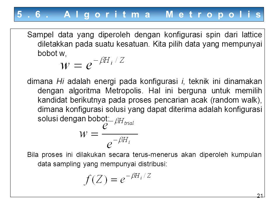 21 5.6. Algoritma Metropolis Sampel data yang diperoleh dengan konfigurasi spin dari lattice diletakkan pada suatu kesatuan. Kita pilih data yang memp