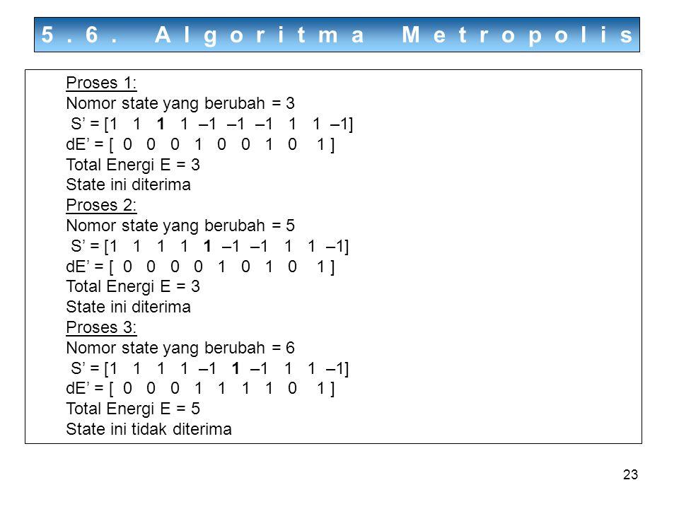 23 5.6. Algoritma Metropolis Proses 1: Nomor state yang berubah = 3 S' = [1 1 1 1 –1 –1 –1 1 1 –1] dE' = [ 0 0 0 1 0 0 1 0 1 ] Total Energi E = 3 Stat