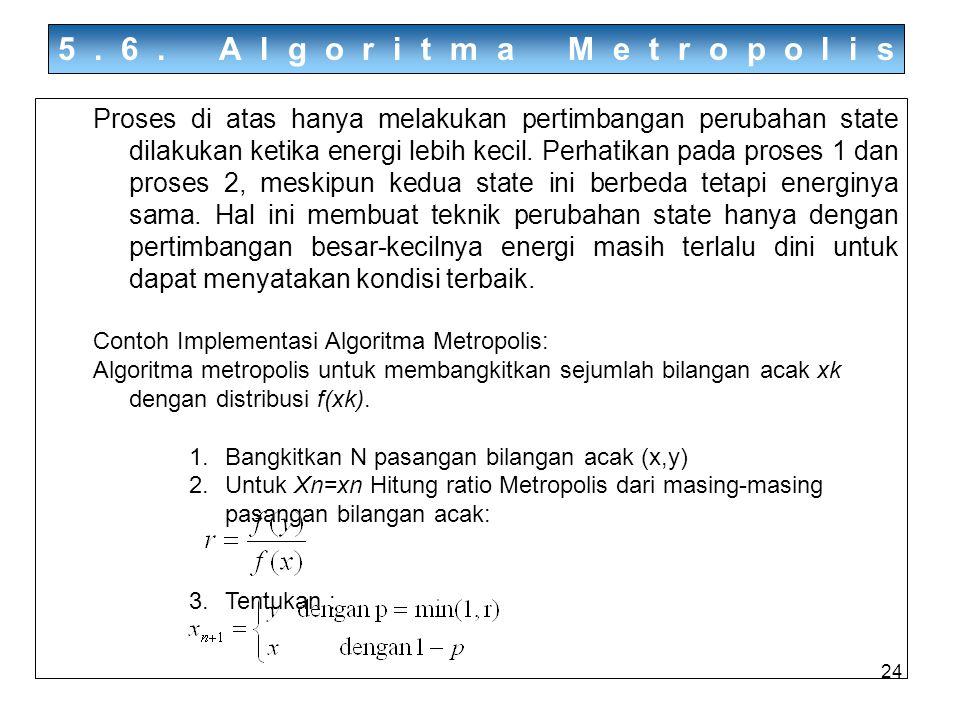 24 5.6. Algoritma Metropolis Proses di atas hanya melakukan pertimbangan perubahan state dilakukan ketika energi lebih kecil. Perhatikan pada proses 1