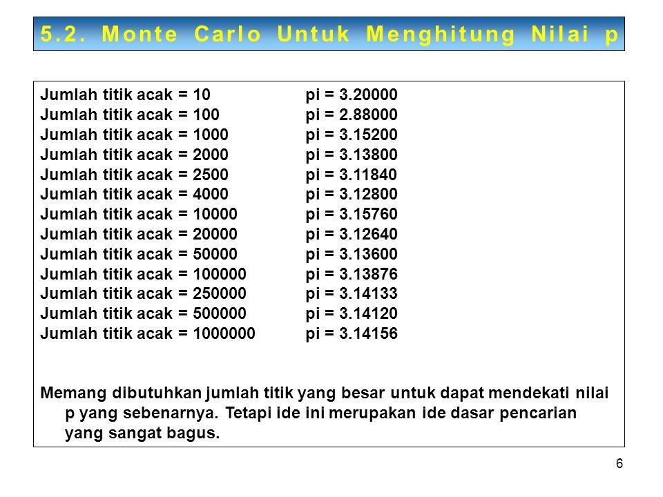 6 Jumlah titik acak = 10pi = 3.20000 Jumlah titik acak = 100pi = 2.88000 Jumlah titik acak = 1000pi = 3.15200 Jumlah titik acak = 2000pi = 3.13800 Jum