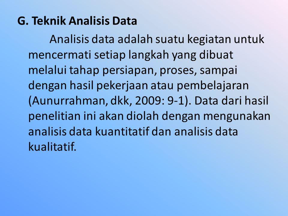 G. Teknik Analisis Data Analisis data adalah suatu kegiatan untuk mencermati setiap langkah yang dibuat melalui tahap persiapan, proses, sampai dengan