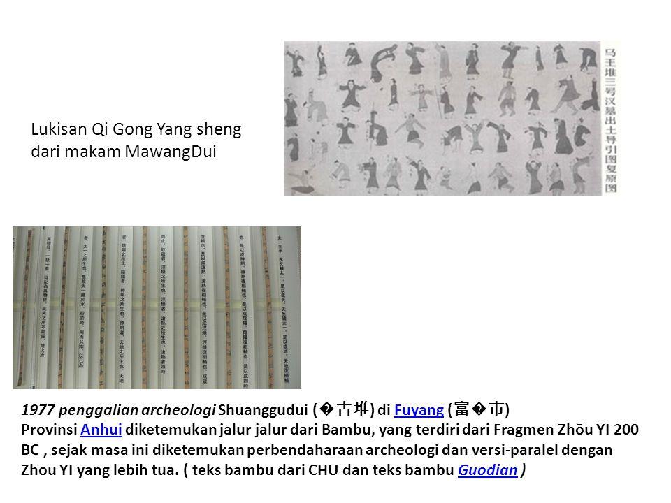 Lukisan Qi Gong Yang sheng dari makam MawangDui 1977 penggalian archeologi Shuanggudui ( �古堆 ) di Fuyang ( 富�市 ) Provinsi Anhui diketemukan jalur jalu