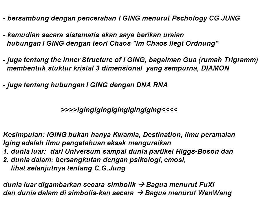 - bersambung dengan pencerahan I GING menurut Pschology CG JUNG - kemudian secara sistematis akan saya berikan uraian hubungan I GING dengan teori Cha