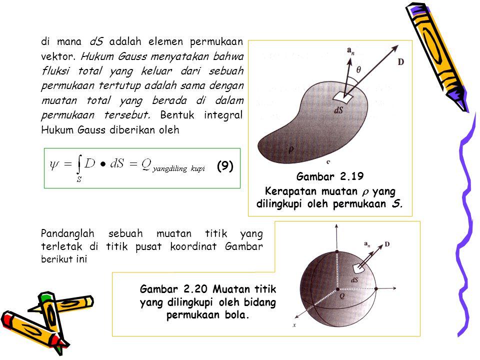 di mana dS adalah elemen permukaan vektor. Hukum Gauss menyatakan bahwa fluksi total yang keluar dari sebuah permukaan tertutup adalah sama dengan mua