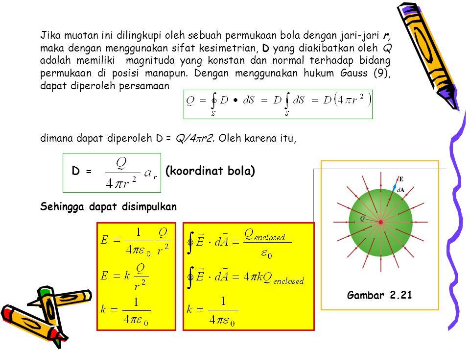 Jika muatan ini dilingkupi oleh sebuah permukaan bola dengan jari-jari r, maka dengan menggunakan sifat kesimetrian, D yang diakibatkan oleh Q adalah