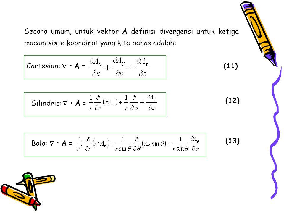 Secara umum, untuk vektor A definisi divergensi untuk ketiga macam siste koordinat yang kita bahas adalah: Cartesian:  A = (11) Silindris:  A = (12)