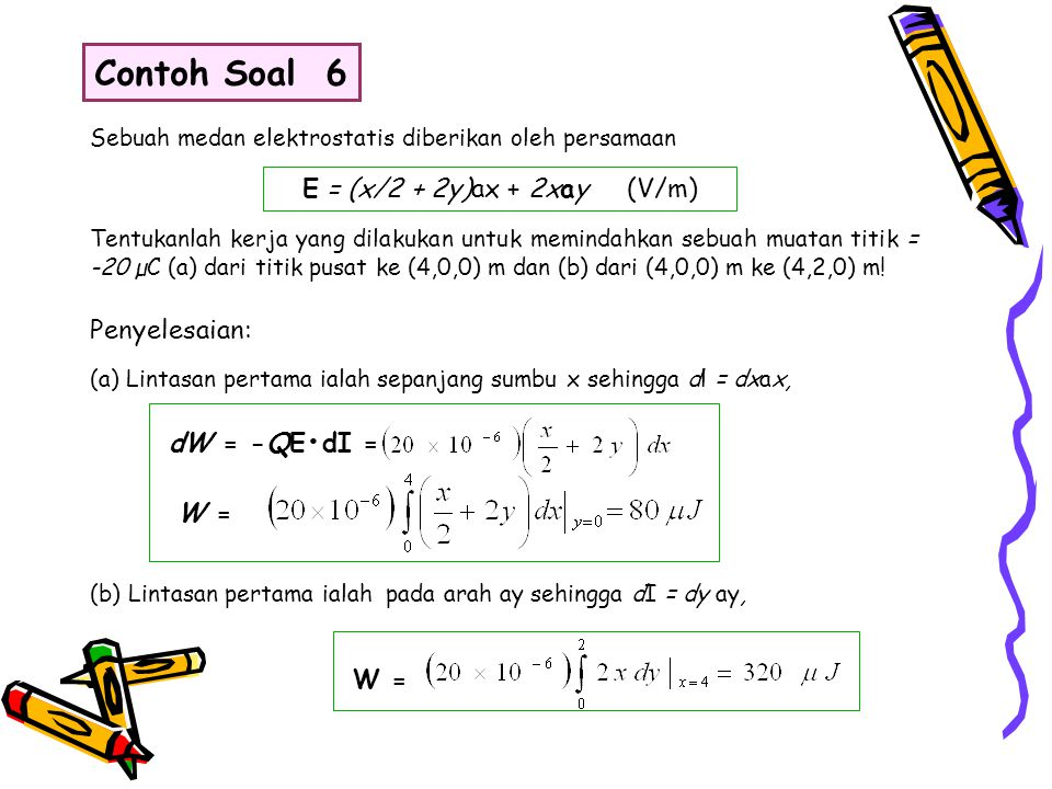 Sebuah medan elektrostatis diberikan oleh persamaan E = (x/2 + 2y)ax + 2xay (V/m) Tentukanlah kerja yang dilakukan untuk memindahkan sebuah muatan tit