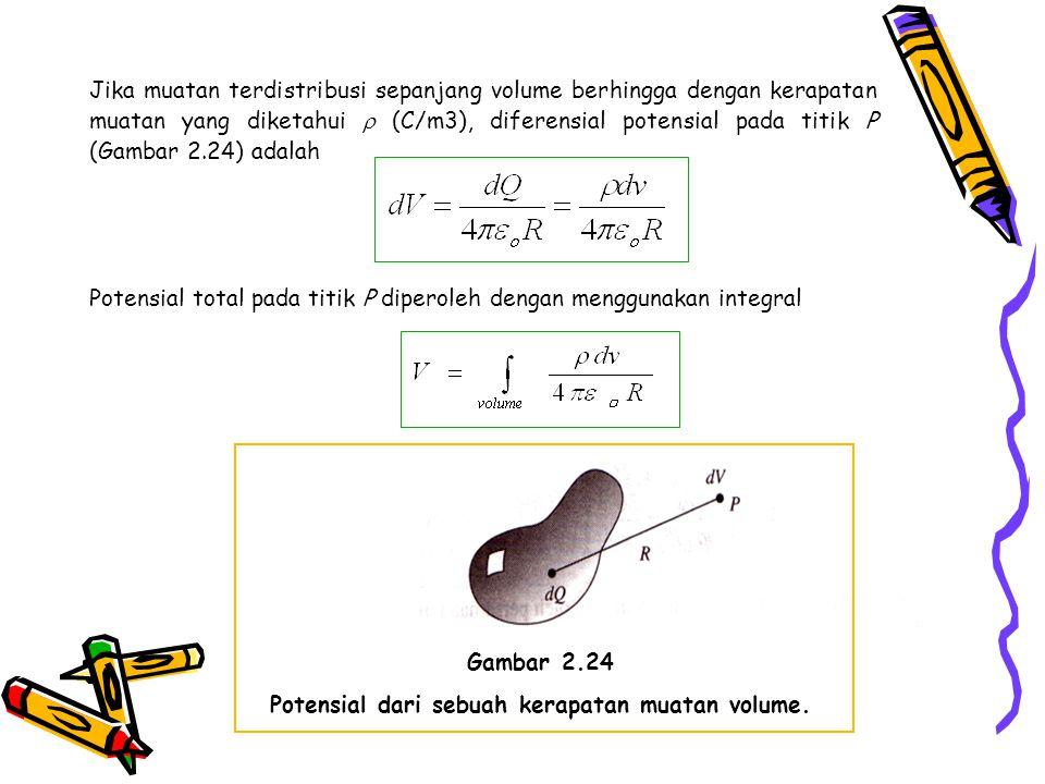 Jika muatan terdistribusi sepanjang volume berhingga dengan kerapatan muatan yang diketahui  (C/m3), diferensial potensial pada titik P (Gambar 2.24)