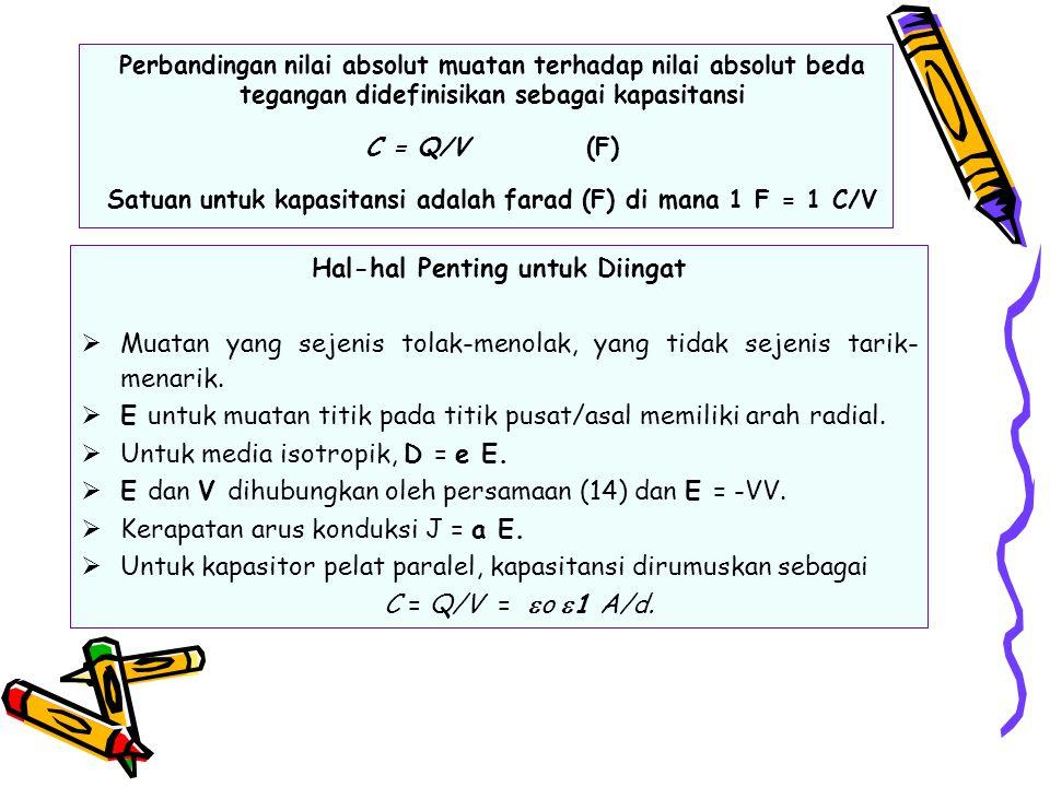 Perbandingan nilai absolut muatan terhadap nilai absolut beda tegangan didefinisikan sebagai kapasitansi C = Q/V (F) Satuan untuk kapasitansi adalah f