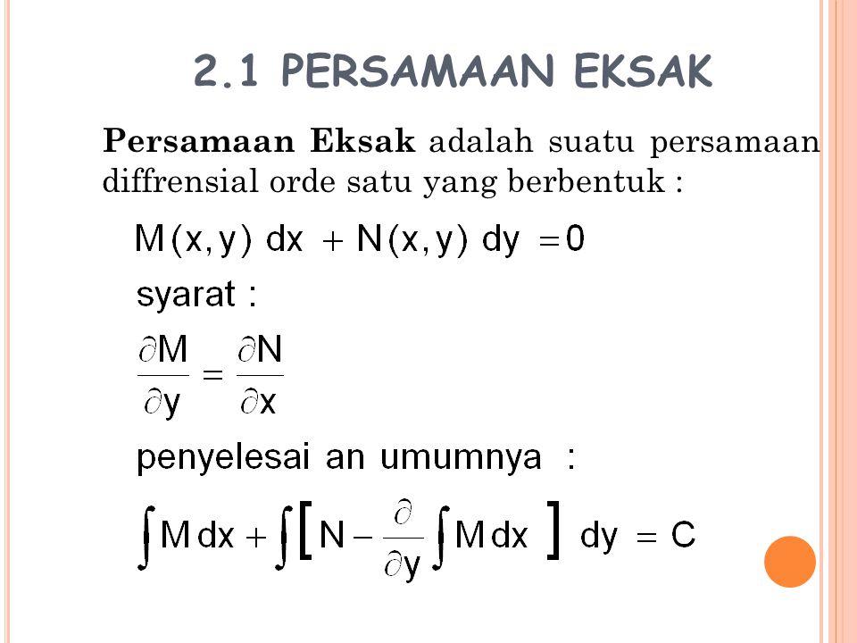 2.2 FAKTOR INTEGRAL Jika suatu persamaan Maka persamaan ini dapat ditulis sebagai persamaan eksak