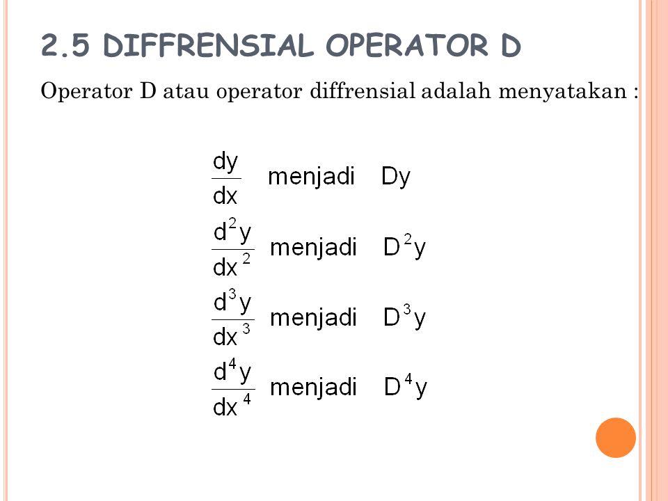 2.5 DIFFRENSIAL OPERATOR D Operator D atau operator diffrensial adalah menyatakan :