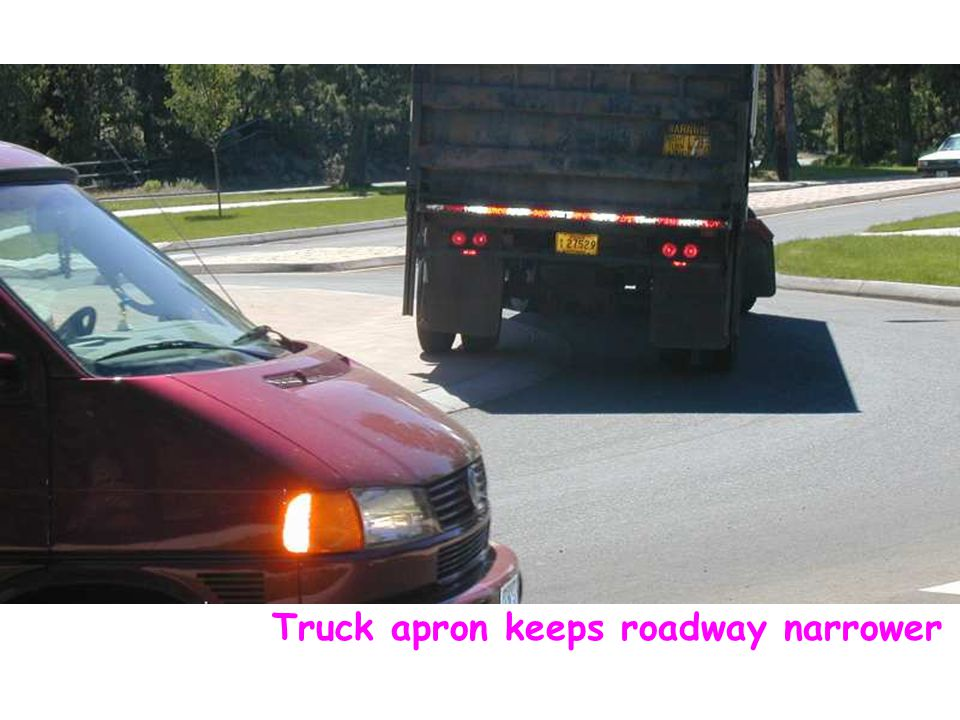 Truck apron keeps roadway narrower