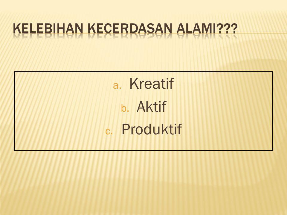 a. Kreatif b. Aktif c. Produktif