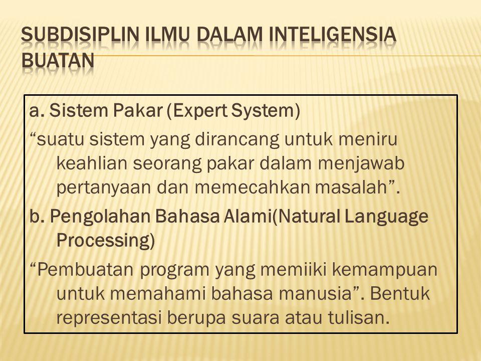 """a. Sistem Pakar (Expert System) """"suatu sistem yang dirancang untuk meniru keahlian seorang pakar dalam menjawab pertanyaan dan memecahkan masalah"""". b."""