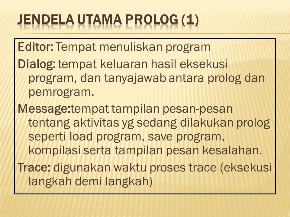 Editor: Tempat menuliskan program Dialog: tempat keluaran hasil eksekusi program, dan tanyajawab antara prolog dan pemrogram.