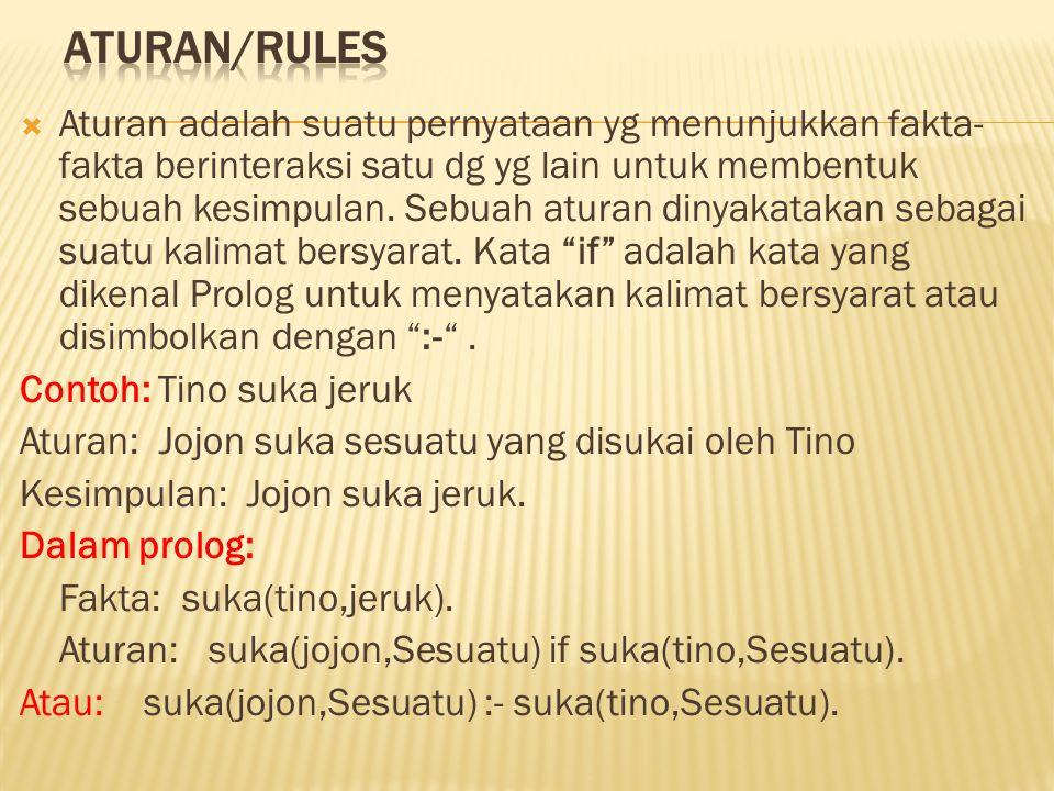  Aturan adalah suatu pernyataan yg menunjukkan fakta- fakta berinteraksi satu dg yg lain untuk membentuk sebuah kesimpulan. Sebuah aturan dinyakataka