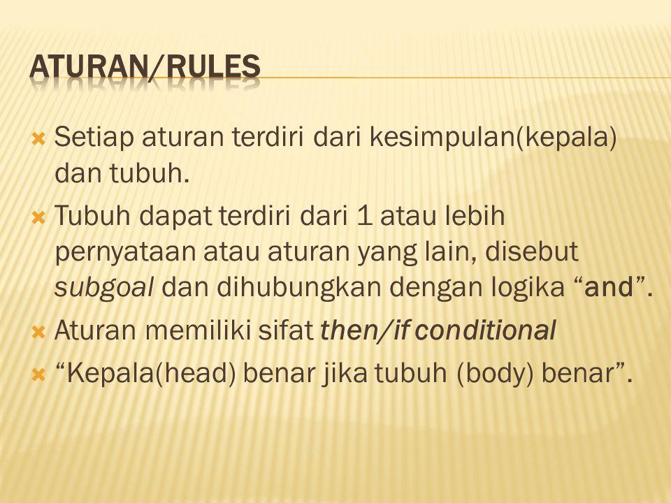  Setiap aturan terdiri dari kesimpulan(kepala) dan tubuh.  Tubuh dapat terdiri dari 1 atau lebih pernyataan atau aturan yang lain, disebut subgoal d