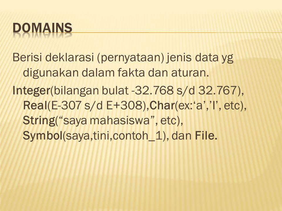 Berisi deklarasi (pernyataan) jenis data yg digunakan dalam fakta dan aturan. Integer(bilangan bulat -32.768 s/d 32.767), Real(E-307 s/d E+308),Char(e