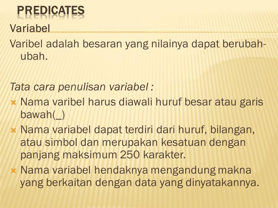 Variabel Varibel adalah besaran yang nilainya dapat berubah- ubah. Tata cara penulisan variabel :  Nama varibel harus diawali huruf besar atau garis
