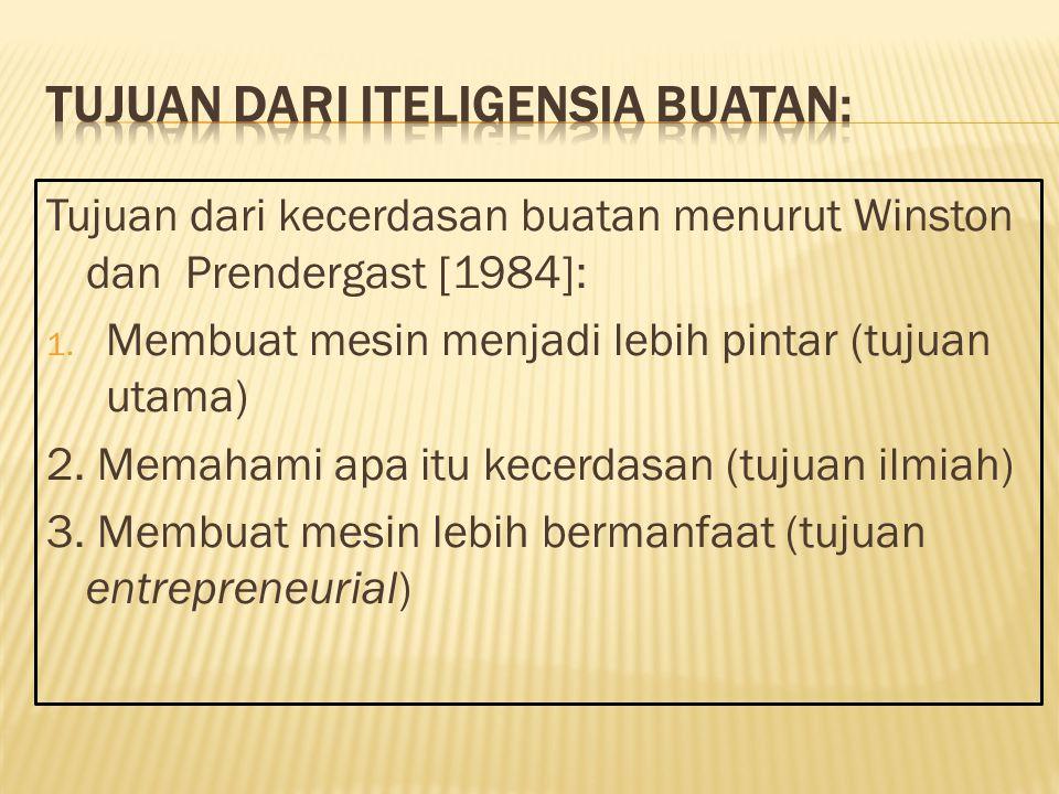 Tujuan dari kecerdasan buatan menurut Winston dan Prendergast [1984]: 1.