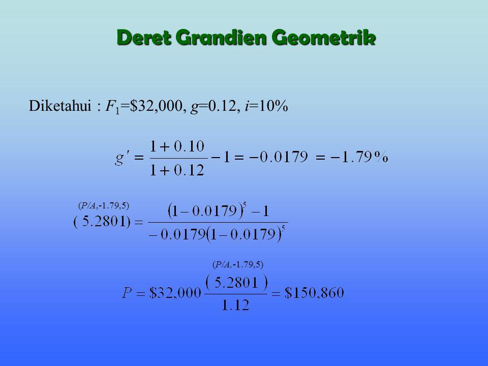 Diketahui : F 1 =$32,000, g=0.12, i=10% (P/A,-1.79,5) Deret Grandien Geometrik