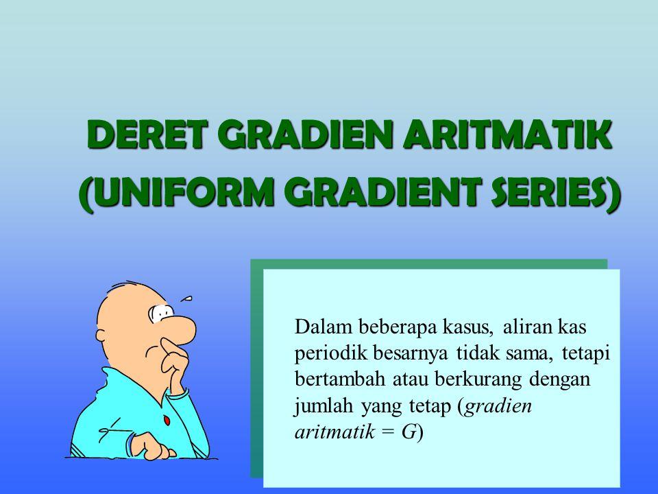 DERET GRADIEN ARITMATIK (UNIFORM GRADIENT SERIES) Dalam beberapa kasus, aliran kas periodik besarnya tidak sama, tetapi bertambah atau berkurang denga