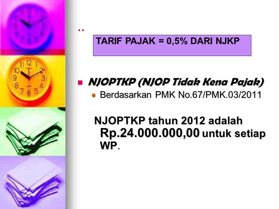 .. NJOPTKP (NJOP Tidak Kena Pajak) NJOPTKP (NJOP Tidak Kena Pajak) Berdasarkan PMK No.67/PMK.03/2011 Berdasarkan PMK No.67/PMK.03/2011 NJOPTKP tahun 2