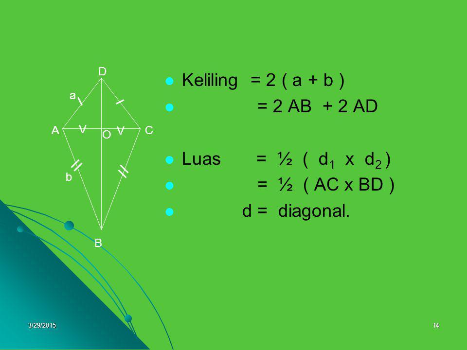 3/29/201514 Keliling = 2 ( a + b ) = 2 AB + 2 AD Luas = ½ ( d 1 x d 2 ) = ½ ( AC x BD ) d = diagonal. O B AC D V V a b