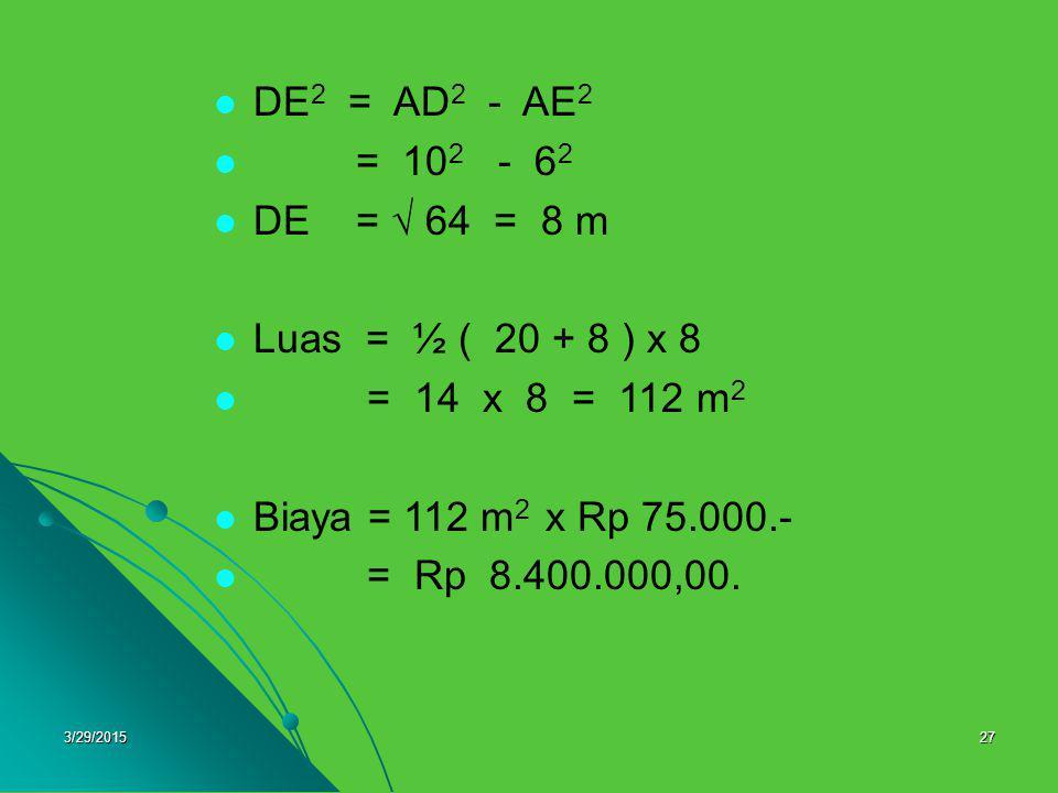 3/29/201527 DE 2 = AD 2 - AE 2 = 10 2 - 6262 DE =  64 = 8 m Luas = ½ ( 20 + 8 ) x 8 = 14 x 8 = 112 m2m2 Biaya = 112 m 2 x Rp 75.000.- = Rp 8.400.000,