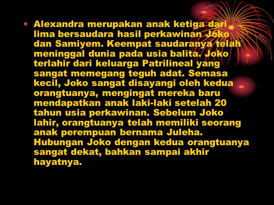 Alexandra merupakan anak ketiga dari lima bersaudara hasil perkawinan Joko dan Samiyem.