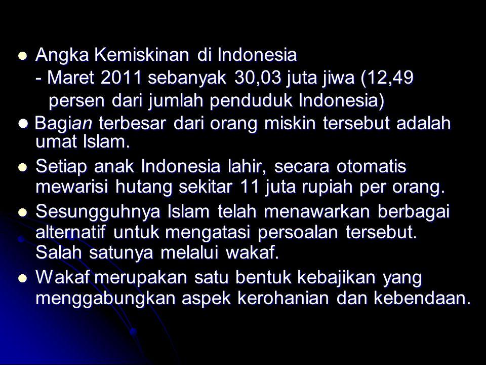 Angka Kemiskinan di Indonesia Angka Kemiskinan di Indonesia - Maret 2011 sebanyak 30,03 juta jiwa (12,49 persen dari jumlah penduduk Indonesia) persen dari jumlah penduduk Indonesia) Bagian terbesar dari orang miskin tersebut adalah umat Islam.
