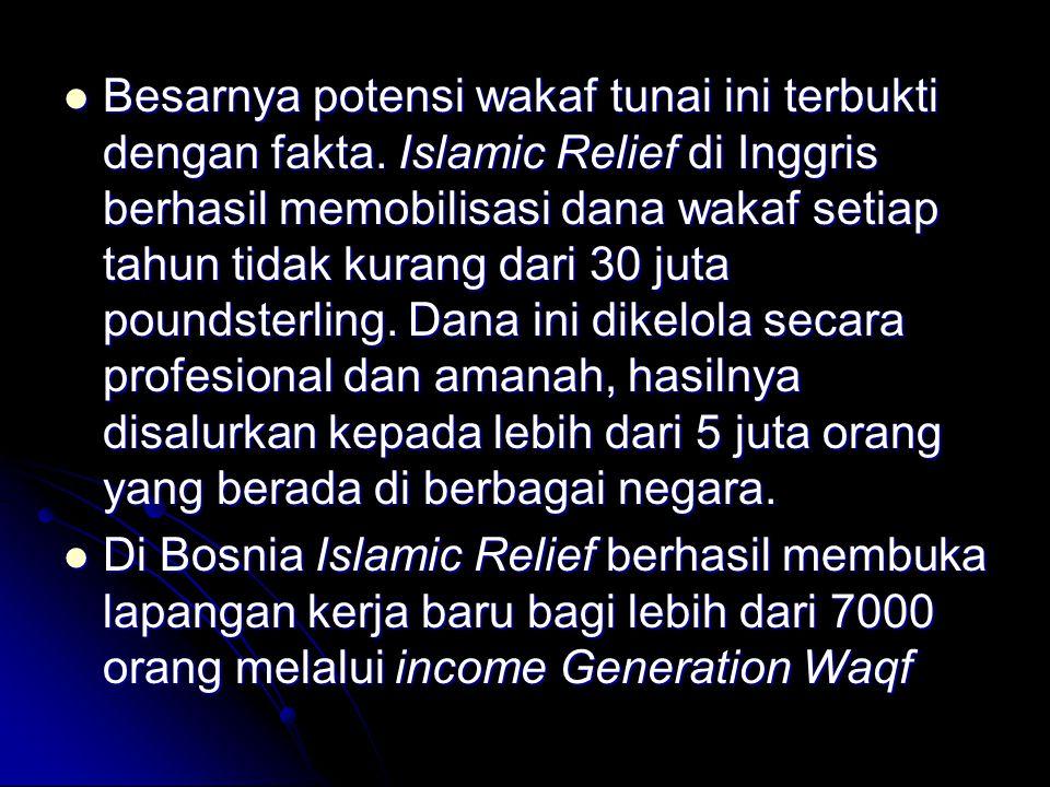 Besarnya potensi wakaf tunai ini terbukti dengan fakta. Islamic Relief di Inggris berhasil memobilisasi dana wakaf setiap tahun tidak kurang dari 30 j