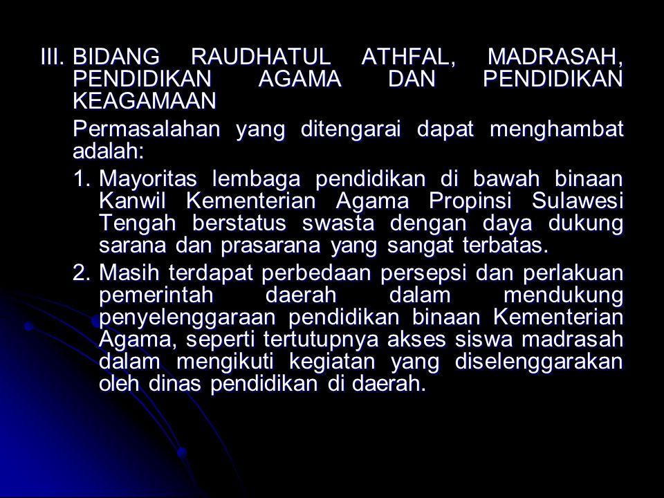 III.BIDANG RAUDHATUL ATHFAL, MADRASAH, PENDIDIKAN AGAMA DAN PENDIDIKAN KEAGAMAAN Permasalahan yang ditengarai dapat menghambat adalah: 1.Mayoritas lembaga pendidikan di bawah binaan Kanwil Kementerian Agama Propinsi Sulawesi Tengah berstatus swasta dengan daya dukung sarana dan prasarana yang sangat terbatas.