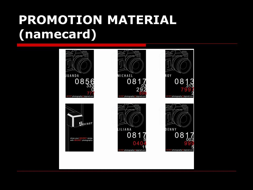 PROMOTION MATERIAL (namecard)