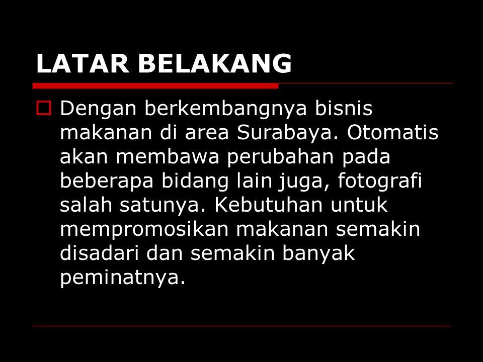 INTRODUCTION  Kelompok kami mengangkat tentang food fotografi karena sekarang ini Surabaya telah berkembang dan menjadi kota metropolis, sehingga kebutuhan terhadap bidang food fotografi semakin bertambah.